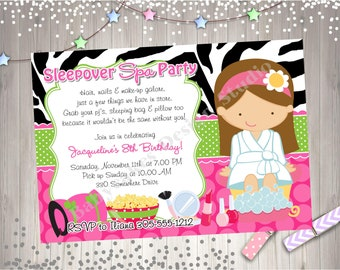 Sleepover Spa Party invitation invite spa sleepover invitation invite pajama party pamper party slumber party printable CHOOSE YOUR GIRL