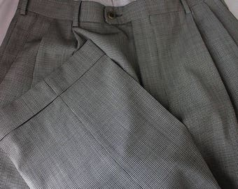 Vintage Zanella Nordstrom Gray Houndstooth 100% Wool Men's Dress Pants 32x31 JU7 pm