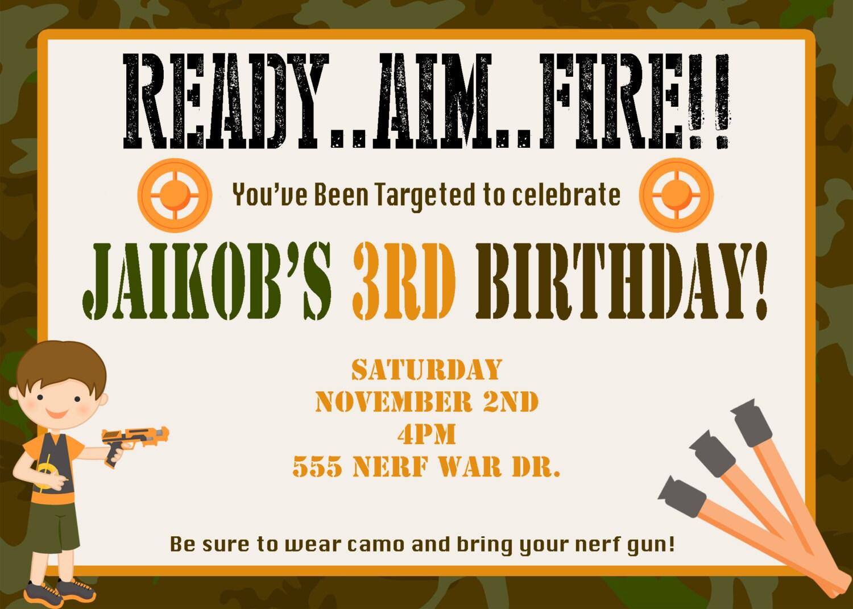 Comfortable Nerf Gun Party Invitations Ideas - Invitation Card ...