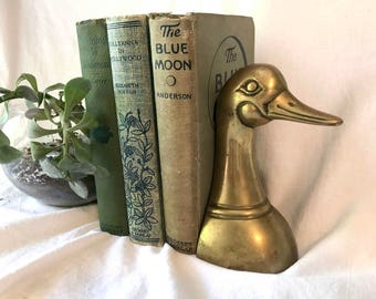 Vintage Brass Duck Head Bookend Single Bookend Midcentury Brass Animal Midcentury Modern Decor 1960s Brass Vintage Duck Brass Door Prop