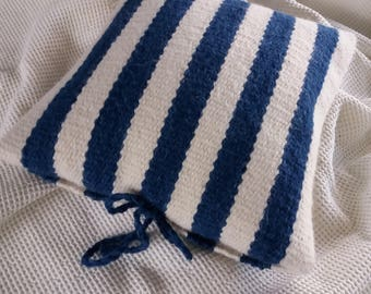 Handwoven alpaca cushion, hand dyed with indigo