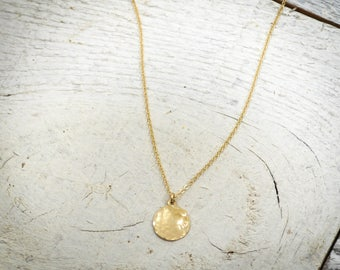Gold pendant etsy quick view hammered circle pendant hammered gold aloadofball