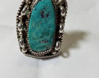 Navajo silver turquoise statement ring