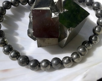 Round beads 6mm in Pyrite