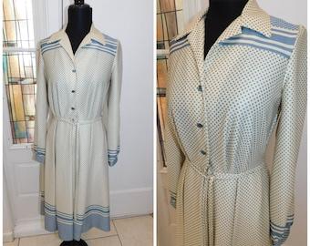 "70s Gray Ivory Polka Dot Day Dress Minty Debbi Bee Polyester Secretary Dress 34"" chest"