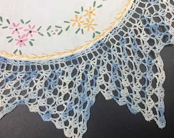 """SALE Linen Table Doily Embroidered Dresser Topper Doily Scarf  1950s Hand Embroidered 13"""" square"""