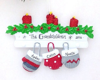 3 Family Mittens Ornament / Personalized Christmas Ornament / Family of Three Mittens on Mantel / Christmas Ornament