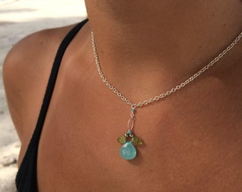 Aqua Chalcedony Carved Peridot Angel Necklace Sterling Silver