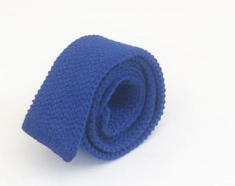 Rooster tie: Men's knitted tie, flat bottom tie, awesome tie, blue tie, square bottom tie, cool ties, men's skinny ties