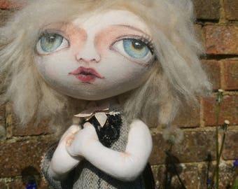 Moth fairy doll, handmade art doll,  OOAK, one of a kind doll, textile art, soft sculpture, cloth doll, rag doll