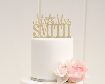 Customized Wedding Cake Topper, Starfish Wedding Cake Topper, Mr and Mrs Cake Topper, Glitter Wedding Cake Topper, Beach Wedding Cake Topper
