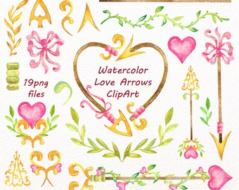 Watercolor love Arrows Clip art, Handpainted clipart, Tribal, PNG, diy greeting card, wedding clipart, for Personal and Commercial Use