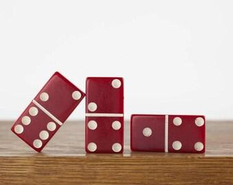 Vintage Red Bakelite Dominoes (3), Domino Game Tile, Dark Red Bakelite Plastic, Assemblage Art, Mixed Media Supply, Vintage Game Pieces