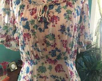 1930s Vintage Floral Dress * 30s Chiffon Gown * Spring Style * Old Hollywood Glam * Retro Bridesmaid * Early 40s Look * Summer Trends