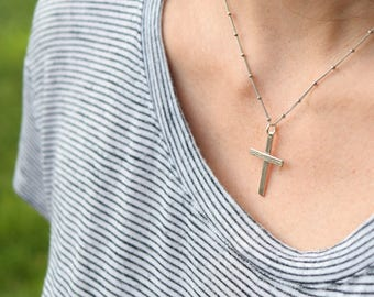 Cross necklace sterling silver cross necklace crucifix necklace unisex cross necklace wood grain jewelry