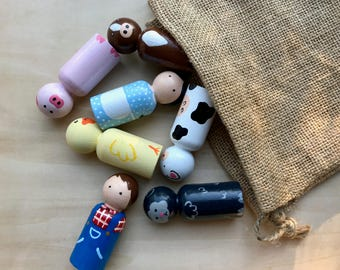 Farm Animals Peg Doll Set, Farmer and his Farm Peg Doll Set, Old McDonald Peg Doll Set, Waldorf, Waldorf Gnomes, Peg Dolls, Wooden Toys