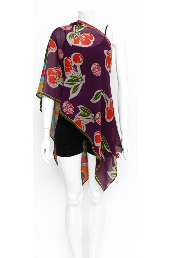 Colorful cherry and skulls and graphics hand painted silk scarf