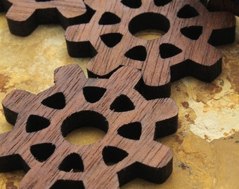 """Steampunk Wood Gears 1   1/2"""" with Nine Cutouts -  Wisconsin Oak Wood Charms by Timber Green Woods"""