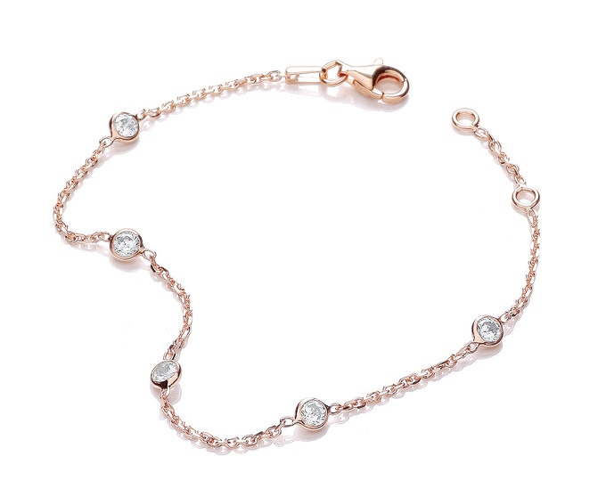 """Sterling Silver 7"""" Chain Bracelet With 5 Rubover Set Cz Stones-Rose-Gold-Silver"""