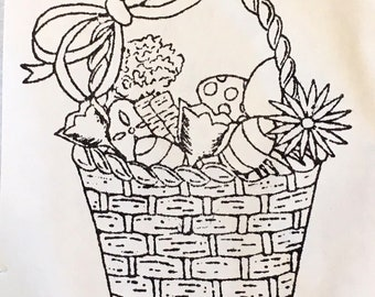 Easter Basket Unmounted Rubber Stamp EZ Mount Rabbit Spring Holiday Eggs Flowers Card Making Collage Stamping