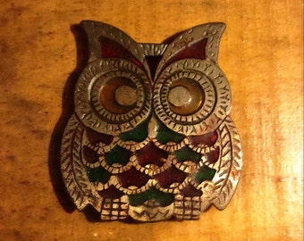 Vintage Cute Owl Trivet, Cast Iron + Stained Glass