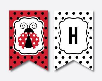 Instant Download, Ladybug Party Banner, Ladybug Happy Birthday Banner, Ladybug Banner, Red Polkadot Party Banner, Ladybug Printable (SKB.03)