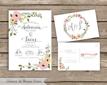 Elegant Floral Wedding Invitation  .  Wildflower Wedding Invite  .  Rustic Wedding . Printable Wedding Invite
