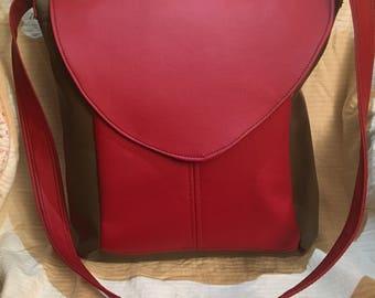 Red and Tan Crossbody Bag