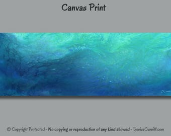 Abstract painting, Canvas wall art print, Teal turquoise blue green, Aqua home decor, Office wall decor, Extra wide panoramic artwork