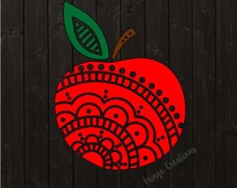 Mandala Apple Decal, Teacher Decal, Teach, Decal, Monogram Decal, Custom Decal, Car Decal, Yeti Decal, Laptop Decal, Sticker, Vinyl Sticker