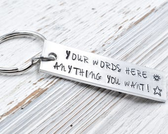 Custom Keychain, Gift for Him, Gift for her, Personalized keychain, Hand Stamped Key Chain. coordinate keychain, anniversary keychain