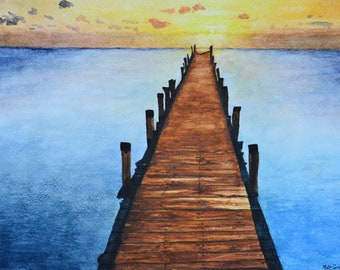 """Endless,a fine art giclee reproduction of an original watercolor painting by Meike Geisler; 14"""" x 9.75""""  ocean dock blue,yellow,orange brown"""