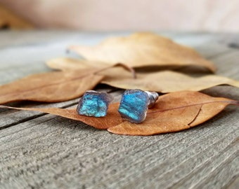 Labradorite earrings - labradorite studs - labradorite stud earrings - raw labradorite - labradorite jewelry - gemstone studs - labradorite
