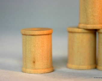 """24 Wooden Spools 1"""" tall  x 3/4"""" wide with 1/4"""" hole"""