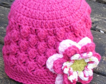 Bright Pink Crochet  Beanie Hat Cap Cloche with Crochet Flower