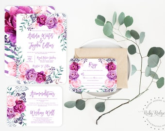 Purple Peony Printable Wedding Invitation Suite | Garden Wedding Invitation | Purple Wedding | Watercolor Floral Invitation Bohemian Wedding