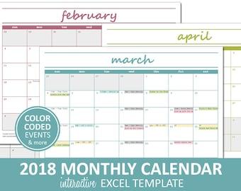 excel template calendar 2018