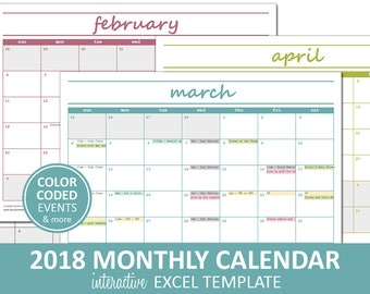 Calendar template etsy elegant monthly calendar 2018 printable excel calendar template monthly calendar printable saigontimesfo