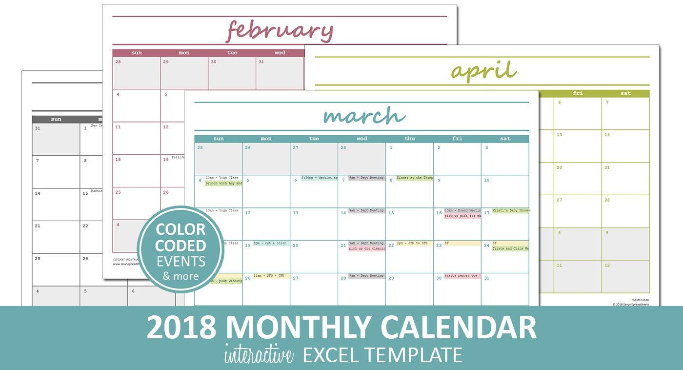 Interactive Excel Calendar Template