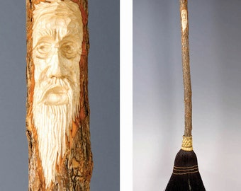 Hand Carved Kitchen Broom Sweeper in your choice of Natural, Black, Rust or Mixed Broomcorn, with Tree Spirit Wizard Carving / Housewarming