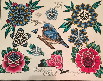 Tattoo Flash Print of Rochester Flower