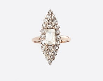 An Antique Rose Diamond and Lemon Quartz Georgian/Victorian Ring