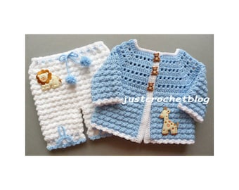 Crochet Coat and Bloomers Baby Crochet Pattern (DOWNLOAD) 84BFJC