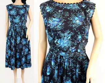 Medium Vintage Floral 1950s Fit and Flare Dress - 50s Fit and Flare Dress - Blue Floral 50s Dress Sleeveless Dress Fit and Flare Pinup Dress