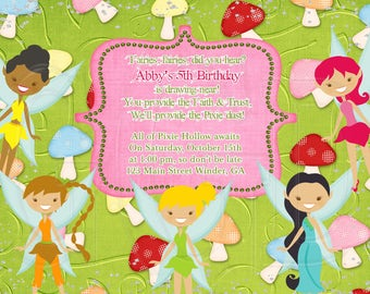 Tinkerbell Invitation, Pixie Hollow theme, Tink invite, Tinkerbell fairy party, Tinkerbell fairies birthay, Tinkerbell Inspired-Digital File
