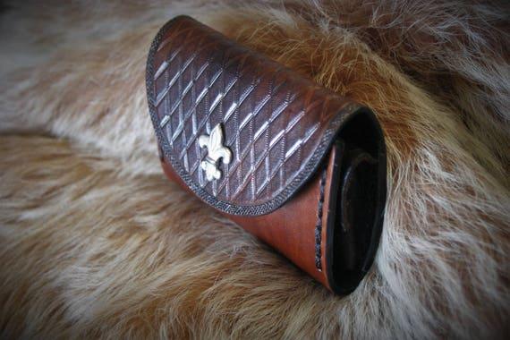 Purse holder mini card mixed bag real leather embossed fleur de lis renaissance spirit