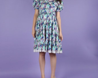Adorable 80s Vintage Floral Baby Doll Dress XS