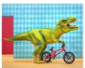 30% OFF SALE T. Rex dinosaur decor art print with Bmx: Shredder