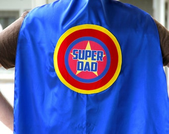 Personalized Custom Dad Cape - Ships Fast - ADULT SUPERHERO CAPE - Customized Wording - Lots of Colors - Fathers Day Ready