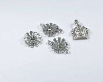 LT4 - Set of 4 flowers and Crown charms in silver
